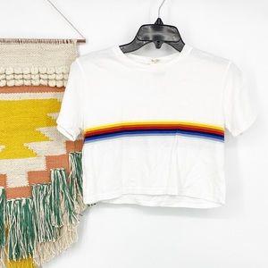 John Galt Rainbow Striped Crop Tee Shirt OS NWT